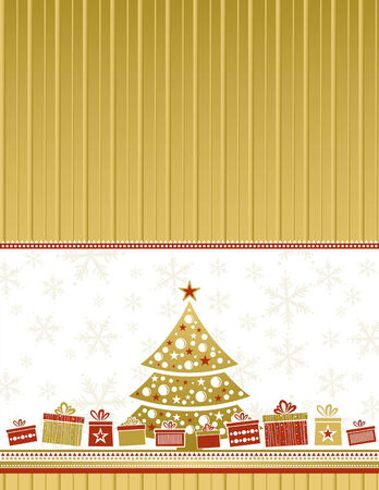 color christmas card with tree and gifts, vector illustration Vector