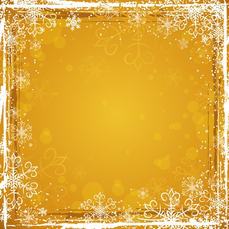 golden grunge christmas background, vector illustration