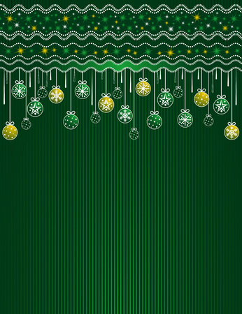 festoon: green card with christmas balls, vector illustration Illustration