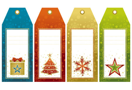 yellow alder: christmas  labels with holiday decoration, vector illustration