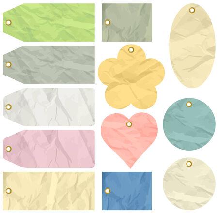 crumple: twelve crumple  labels , vector illustration