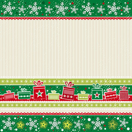 border cartoon: color christmas card with gifts, vector illustration