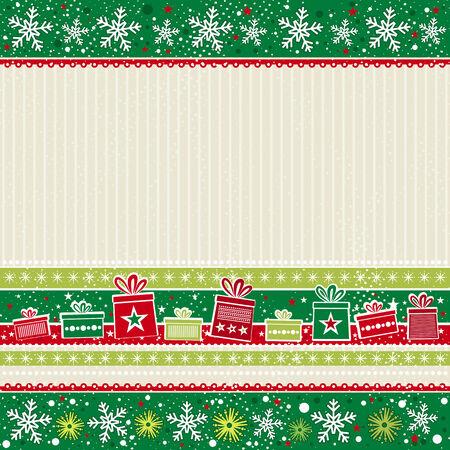 friso: color de tarjeta de navidad con regalos, ilustraci�n vectorial