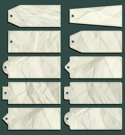 ten crumple  labels over green background, vector illustration Vector