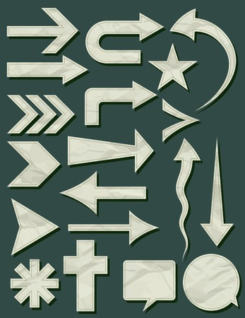 crumple: many crumple shapes over green background, vector illustration
