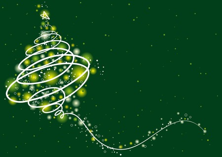 christmas tree  on the green background, vector illustration Stock Vector - 3867809