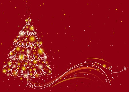 christmas tree  on the red background, vector illustration Stock Vector - 3867811