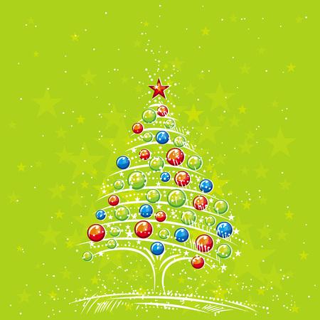 lustre: christmas tree  on the green background, vector illustration Illustration