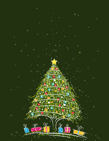 christmas tree  over  green background, vector illustration