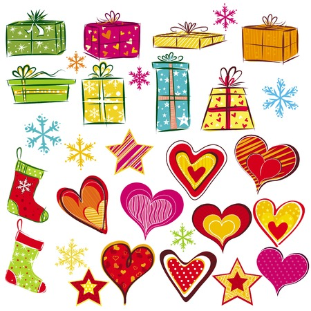 color christmas gifts and valentines heart, vector illustration Vector
