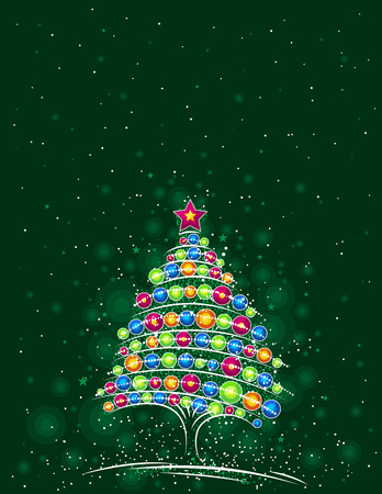 christmas tree  on the green  background, vector illustration Vector