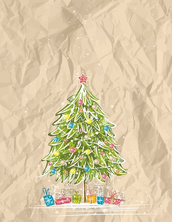 crumple: christmas tree  over  crumple background, vector illustration