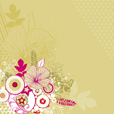 bouquet of hibiscus on beige background, vector illustration