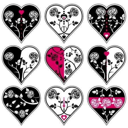 nine lovely heart, vector illustration Vector