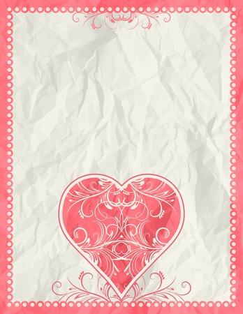 clipart wrinkles: big pink heart over beige background, vector illustration