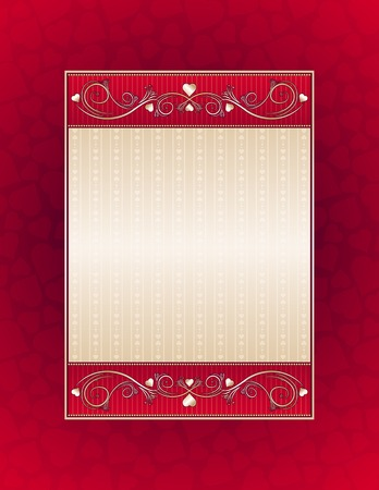 red background with red hearts, vector illustration Stock Vector - 4155490