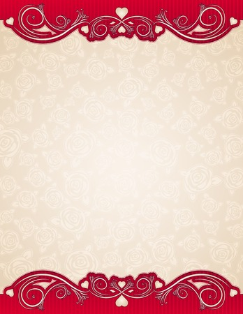 beige background with roses, vector illustration