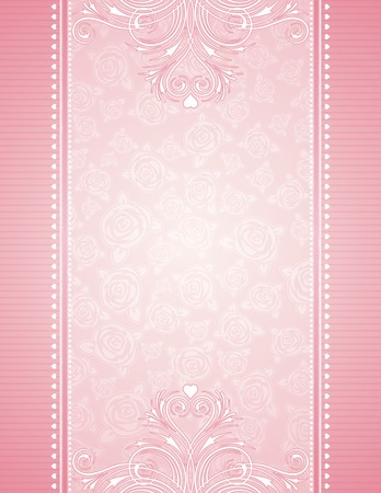 feb: pink background with roses, vector illustration Illustration