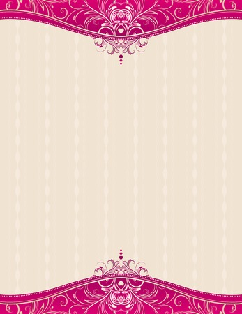 beige background with decorative ornaments and hearts, vector illustration