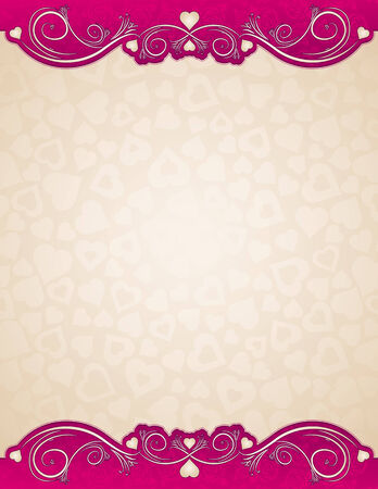 beige background with hearts, vector illustration Vector