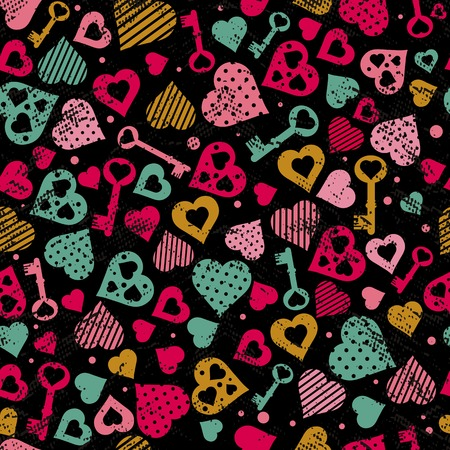 texture with hearts and keys, vector illustration Vector