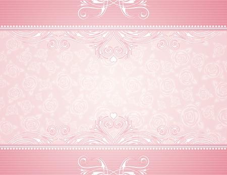 corazon rosa: con rosas de color rosa de fondo, ilustraci�n vectorial Vectores