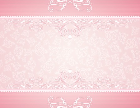 pink heart: pink background with roses, vector illustration Illustration