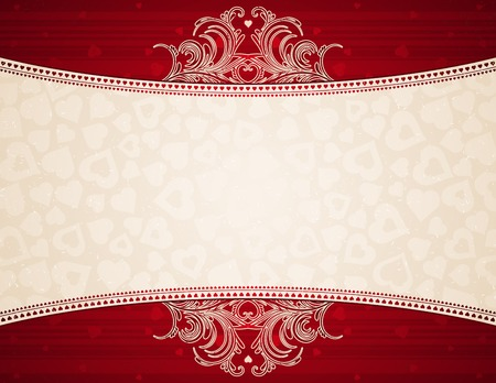 red background with heart, vector illustration Vector