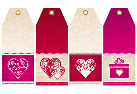 valentines  labels with  decorative hearts, vector illustration Stock Vector - 4206488