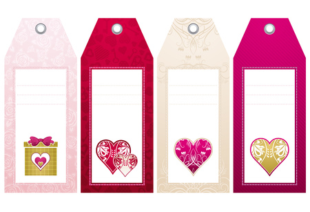 valentines  labels with  decorative hearts, vector illustration Stock Vector - 4206492