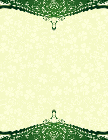 green background with shamrock, vector illustration