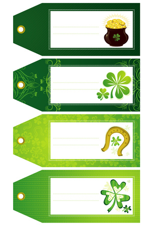 green labels with shamrock and  pot with golden coins Vector