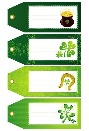 earthenware: tr�bol verde con las etiquetas y la olla con monedas de oro Vectores