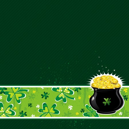 green background with shamrock and  pot with golden coins Stock Vector - 4269305