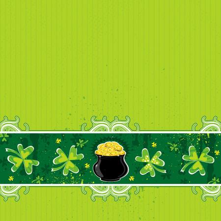 earthenware: con fondo verde y el tr�bol olla con monedas de oro Vectores