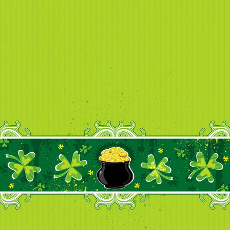 17th march: green background with shamrock and  pot with golden coins Illustration