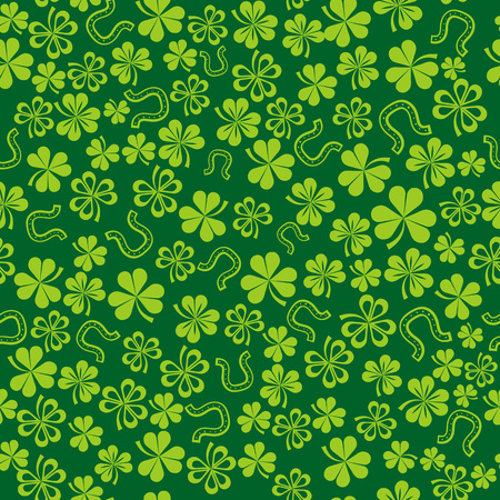 st  patrick: green background with shamrock, vector illustration