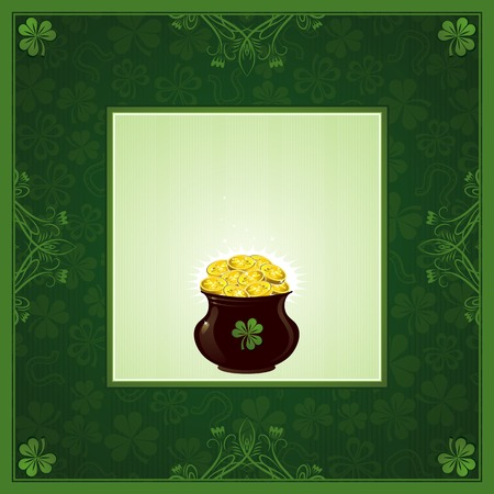 green background with shamrock and  pot with golden coins Vector
