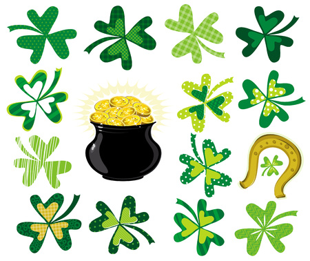 green  shamrocks and  pot with golden coins, vector illustration Vector