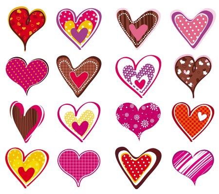 sixteen: sixteen lovely heart, vector illustration