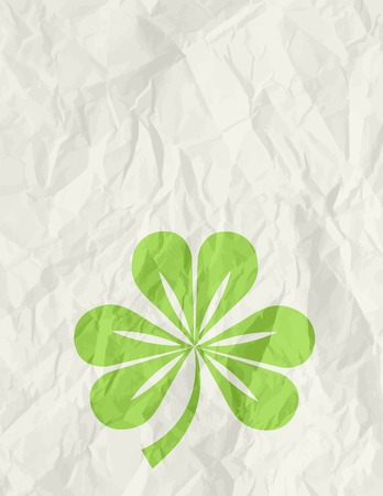 wrinkly: big green clover over beige background, vector illustration Illustration