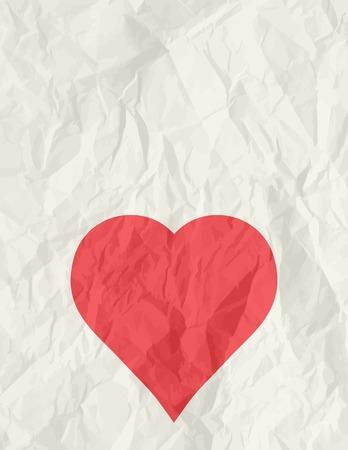 rumple: big red heart over beige background, vector illustration