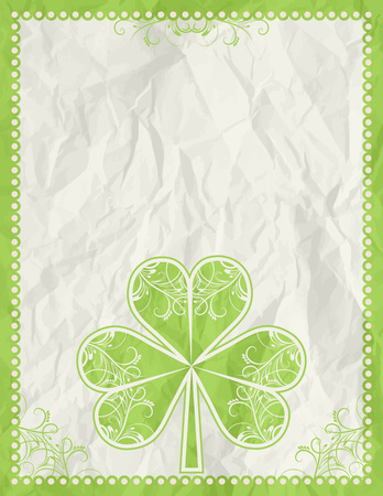 big green clover over beige background, vector illustration Stock Vector - 4321433