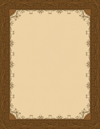 deed: brown background with decorative ornate, vector illustration