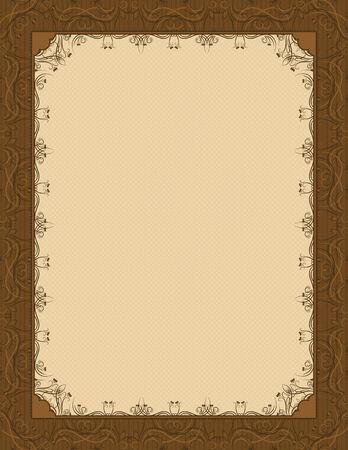 oorkonde: bruine achtergrond met decoratieve sierlijke, vector illustration
