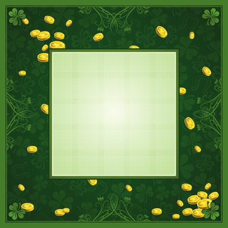 green background with shamrock and   golden coins Illustration