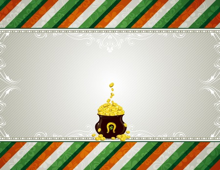 grey background with shamrock and  pot with golden coins Vector