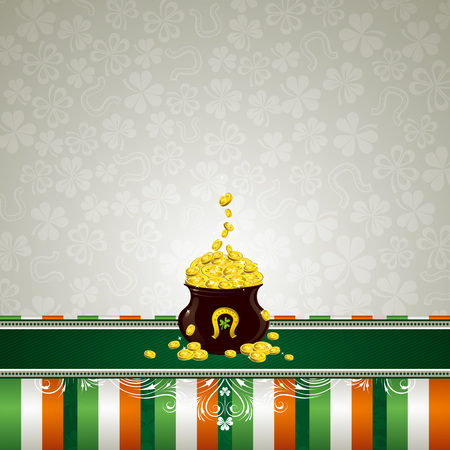 irish background: grey background with shamrock and  pot with golden coins