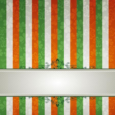 striped background with shamrock photo