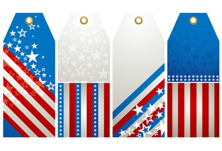 vote symbol: four  labels with elements of usa banner, vector illustration